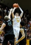 Valparaiso senior Ryan Broekhoff shoots the last-second 3-pointer to win the game 70-69 during Saturday's Horizon League Tournament semifinals.