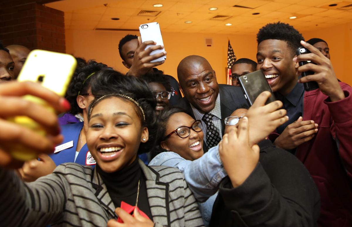 the magic man brings wisdom to teens news com earvin magic johnson at e c central high the highest paying jobs