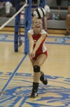 Crown Point's Lexy Oppenhuis sets against Lake Central on Tuesday.