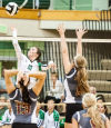 Valparaiso's Rachel Bontrager goes up for a spike attempt against Chesterton