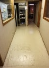 WJOB Logo Stamped in Concrete of Studio's Main Hallway