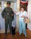 Eunice Slagle Explaining Details of a WW II Uniform Display at Porter County Museum