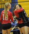 Brittany Krusza, Sarah Pimentel and Molly Zupan celebrate