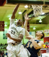Griffith's Tremell Murphy tries a reverse layup