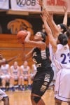 Purdue Calumet's Patrice McBee gets ready to go up strong against Olivet Nazarene's defense on Wednesday.
