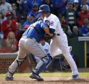Barney thrown out at plate in eighth inning in Cubs loss