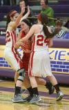 Portage's Kaitlin Doud is double-teamed by Crown Point's Katija Tarailo and Ashley Cunningham during Tuesday's Class 4A Hobart Sectional.