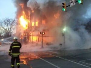 Whiting blaze destroys dress shop, upstairs apartments