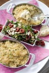 Crab and Hearts of Palm Gratin with Arugula and Cherry Salad