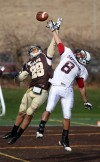 A pass in the end zone to Valparaiso's Dale Cook