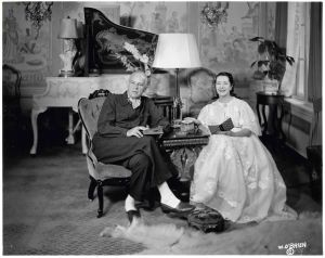 Broadway Theater Couple Alfred Lunt and wife Lynn Fontanne in the Drawing Room of Ten Chimneys