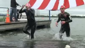Triathletes endure wind, cold