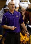 Gavit coach Brandon Ridenour reacts after his boys lost the ball to Lew Wallace during Friday's semifinals of the Class 3A Hammond Sectional.