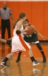 Wheeler's Allie Stevenson is guarded by Whiting's Citlali Lopez