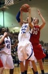 Lake Central's Mike Miklusak, Tyler Wideman, Munster's Nate Bubash