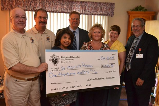 Knights donate to St. Monica Home