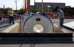 New MRI machine lowered through roof into Franciscan St. Margaret Health in Hammond