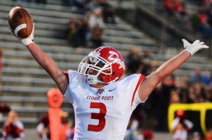 Crown Point's Billy Bernhardt celebrates his interception