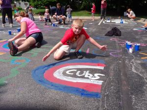 Crete Library parking lot gets artistic makeover