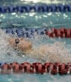 Crown Point's Mike Kukurugya swims the backstroke leg