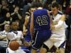 Bishop Noll sophomore Milos Kostic collides with Tipton senior Micah Voorhis