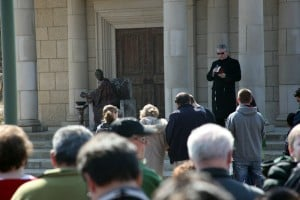 Father Rocky leads Good Friday service in St. John