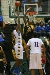 Lew Wallace's Branden Dawson jumps to block a shot
