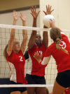 T.F. South's Brittany Krusza, left, and Briana Lilly