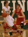 Pursued by Crown Point's Tom Bardeson, Valparaiso's Bret Boetel 