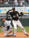 White Sox shortstop Alexei Ramirez celebrates a double play