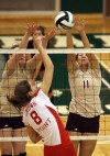 Crown Point's Abby Kvachkoff goes up against Chesterton's Jennifer Williams and Shelby Ruffner