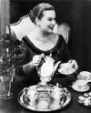 Etiquette Expert Amy Vanderbilt at Tea Time 1956