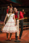 "Cory Goodrich as June Carter and Michael Goodman as Young Johnny Cash in ""Ring of Fire"" at Theatre at the Center"