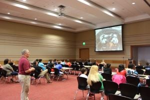 Former NASA astronaut Jerry Ross speaks to students at VU