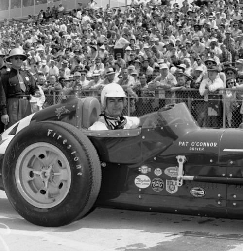 Pat O'Connor is shown in his Sumar Special, May 17, 1958, after qualifying at the Indianapolis Speedway for the Memorial Day race