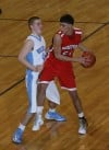 Hanover Central's Luke Pedersen guards Morton's Rayan Elabed