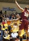 Valparaiso University's LaVonte Dority drives against Loyola's Christian Thomas on Wednesday night.
