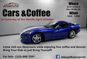 Jabaay Motorsports to host Cars and Coffee evry
