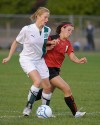 Valparaiso's Anneliese Trapp, left, and Kankakee Valley's Hillary Hoffman