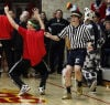 Bishop Noll fans dance on the court before the start of the Andrean game Friday.