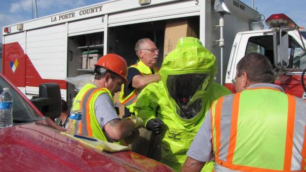 Laporte officials stage mock disaster in downtown area for Laporte newspaper
