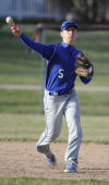 Lake Central's Brenden Seren tosses over to first for an out against Chesterton on Wednesday.