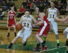 Kouts' Rebekeh Case dribbles around Hebron's Rylie Shrum
