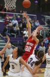 Crown Point's Katija Tarailo attempts a shot under the basket against Hobart on Friday night.