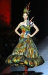 Feathers fly on plumage-covered Gaultier couture