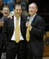 Crusader coach Homer Drew and Baylor coach Scott Drew