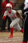 Homewood-Flossmoor's Olivia Dau leads off at third base against Munster on Wednesday.