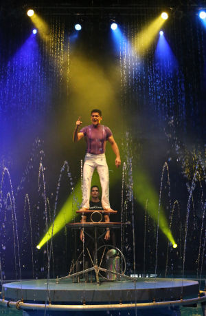 Water circus differs from traditional big top entertainment