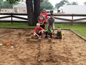 Crete campers have fun in the sand