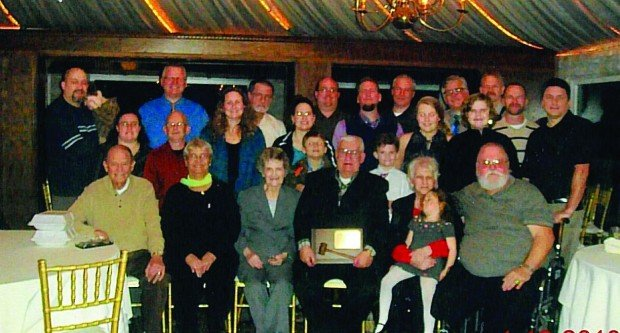 Members of the Northwest Indiana Deaf Club, including (front row) Jacob Hoogewerf, Lorraine Hochbaum, Letha Hoogewerf, Robert Hochbaum, Sandy Gee and Tim Gee, meet for the last time after deciding to dissolve the club.